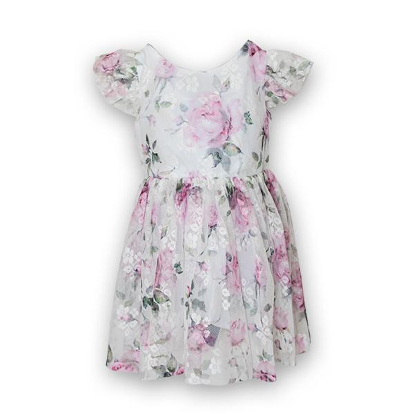 Rochie eleganta cu tulle imprimat cu flori 2
