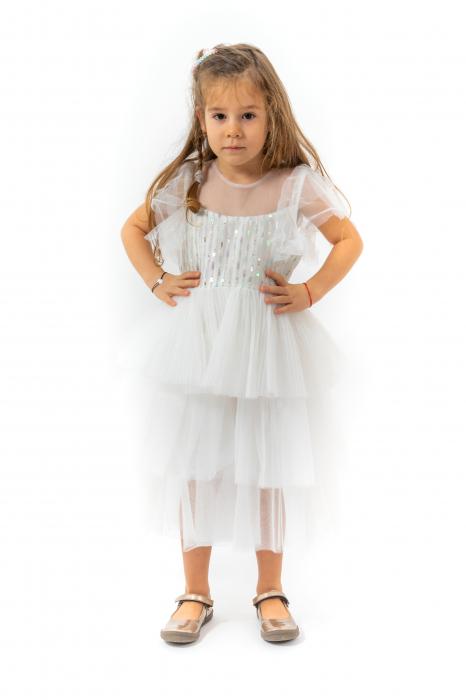Rochie eleganta din tulle cu volanase si paiete 0