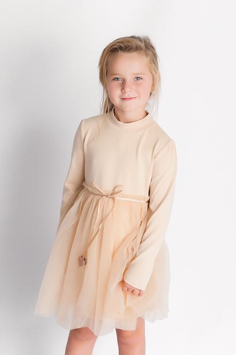 Rochie eleganta maro cu tulle si cordon 1