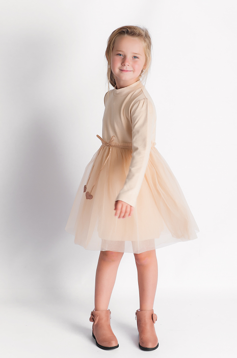 Rochie eleganta maro cu tulle si cordon 3
