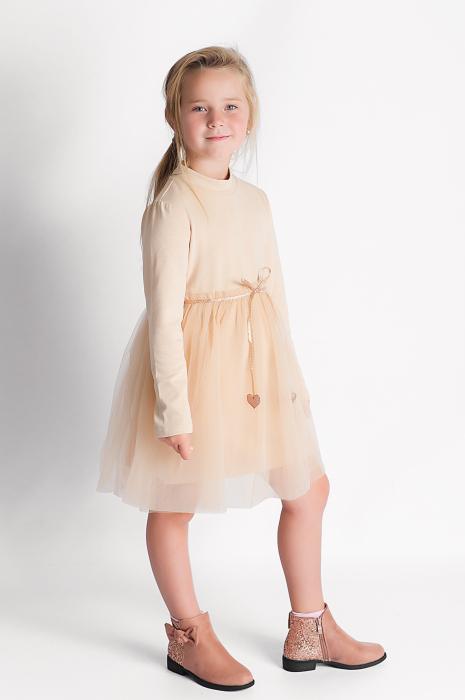 Rochie eleganta maro cu tulle si cordon 5
