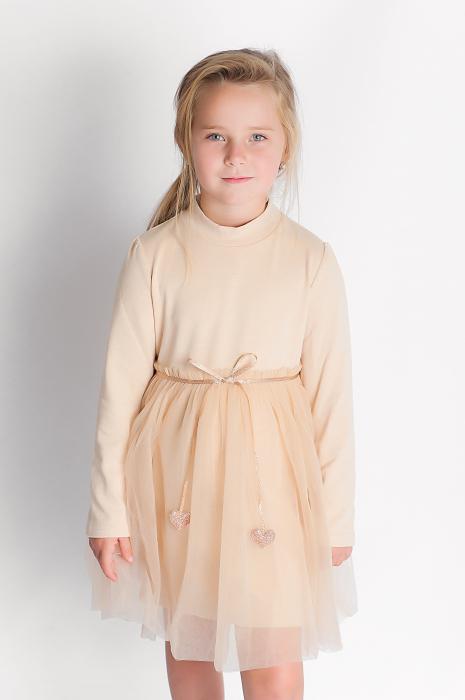 Rochie eleganta maro cu tulle si cordon 0
