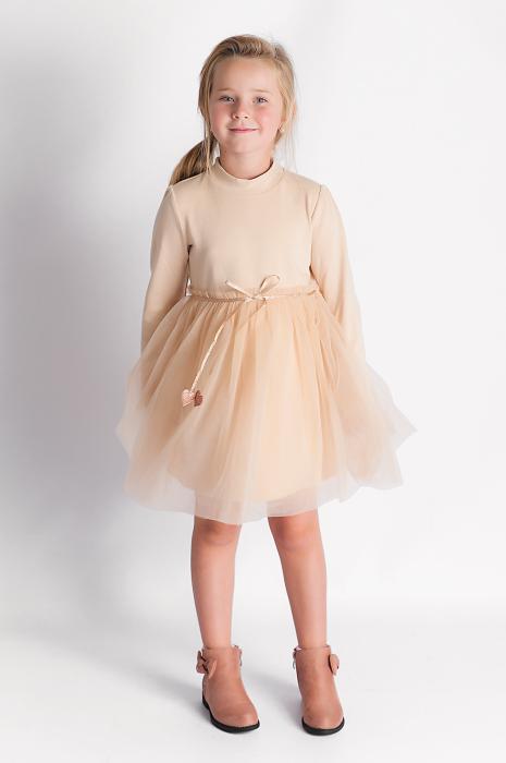 Rochie eleganta maro cu tulle si cordon 2