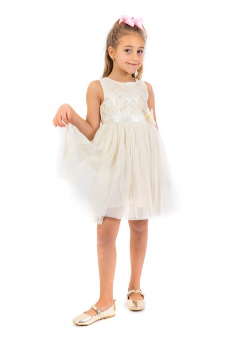 Rochie eleganta plisata cu dantela si tulle 0