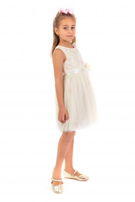 Rochie eleganta plisata cu dantela si tulle 1