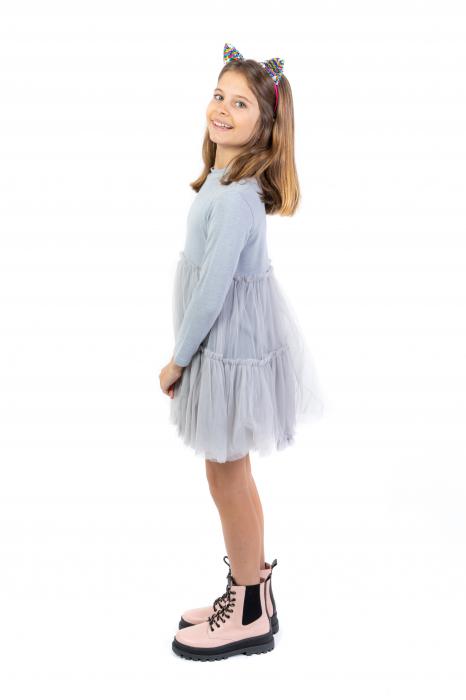 Rochie gri argintiu eleganta cu tulle [2]