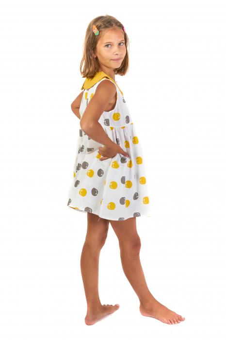Rochie lejera din bumbac cu imprimeu si guler contrastant [1]