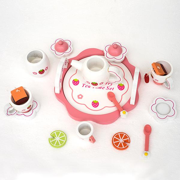 Set de ceai din lemn în cutie roz [1]