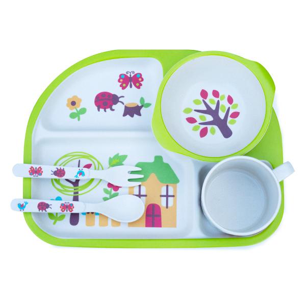 Set de masa alb si verde pentru copii din 5 piese 1