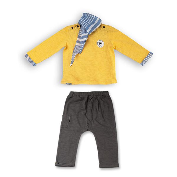 Set trei piese baieti, galben si gri, cu pantaloni trei sferturi si esarfa 7