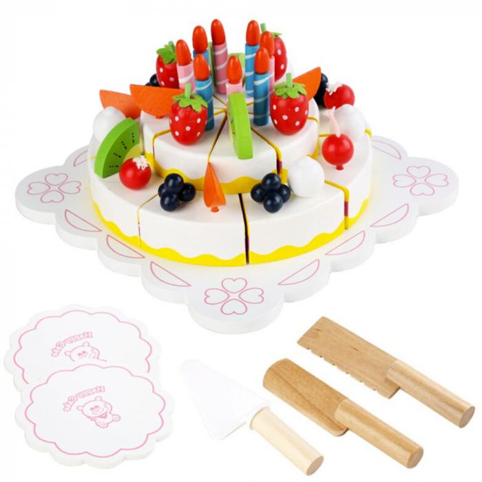 Tort aniversar din lemn cu fructe si accesorii 1