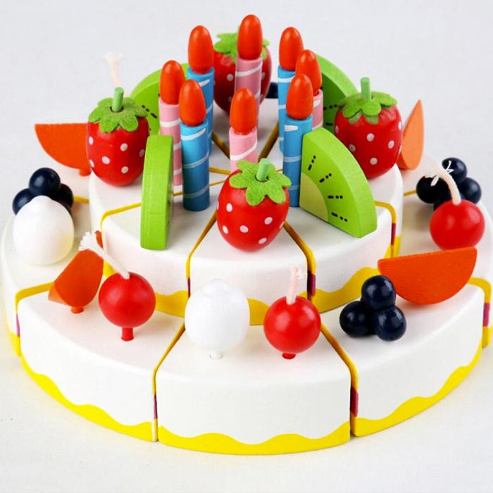 Tort aniversar din lemn cu fructe si accesorii 0