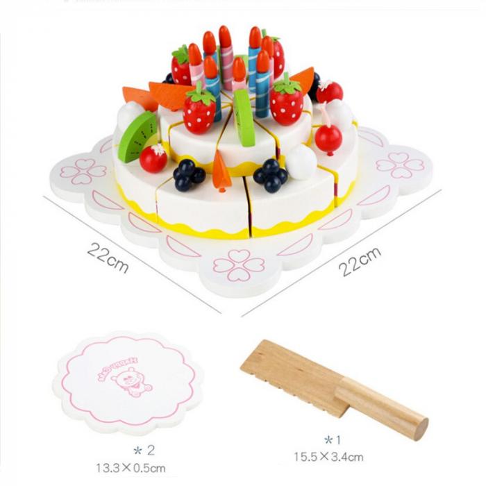 Tort aniversar din lemn cu fructe si accesorii 2