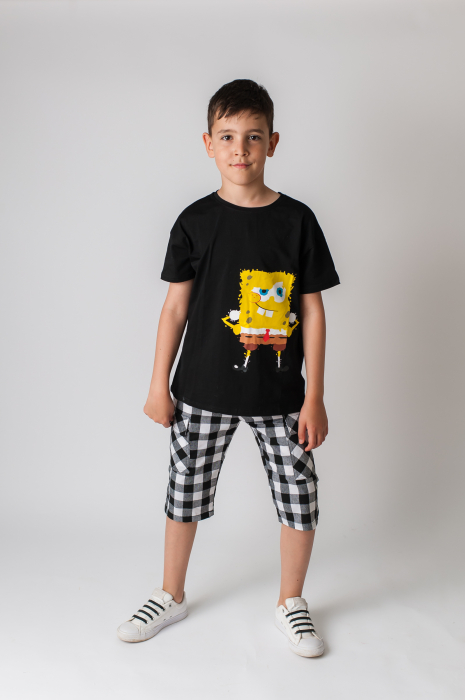 Tricou cu imprimeu culoare negru 1