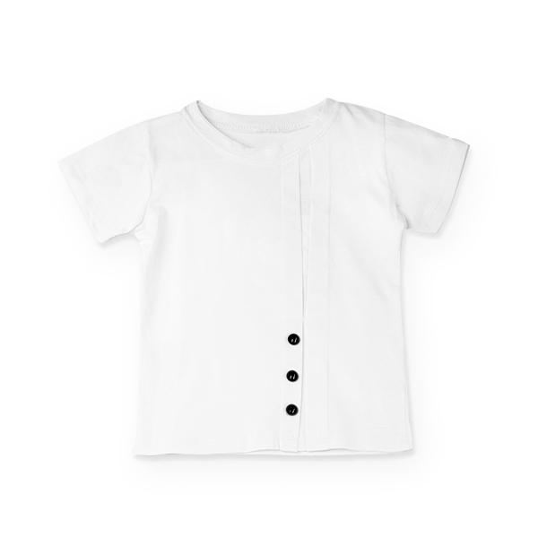 Tricou alb cu nasturi si cute 0