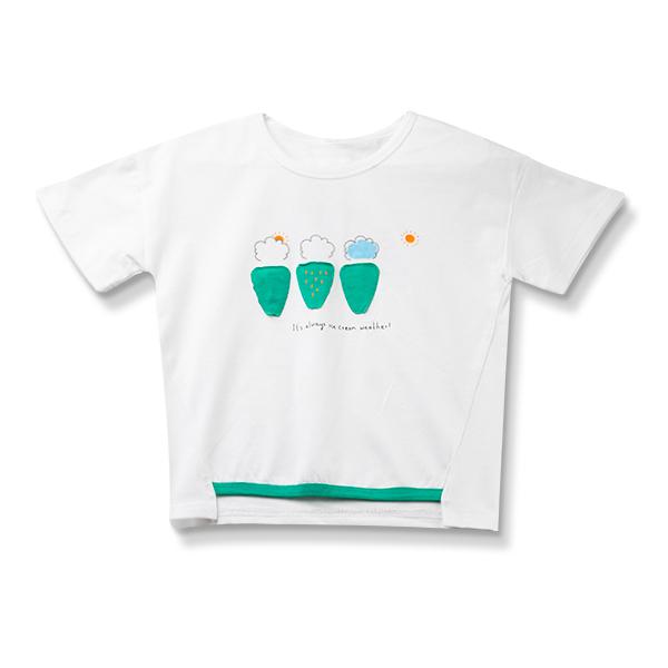 Tricou alb cu imprimeu verde 0