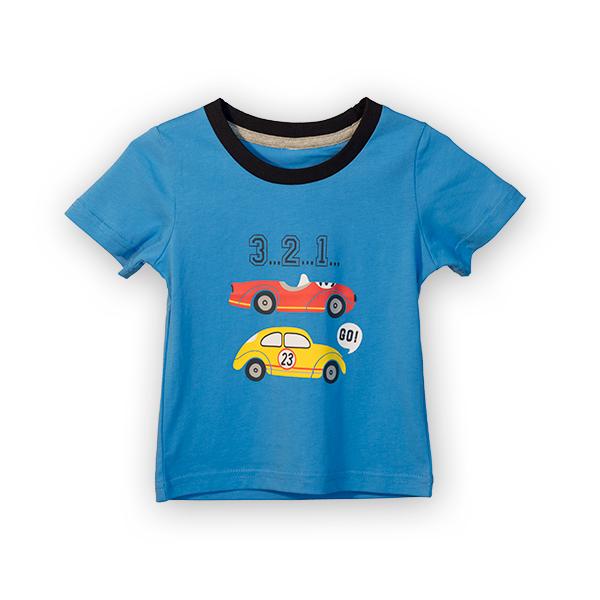Tricou albastru cu imprimeu si guler contrastant [0]