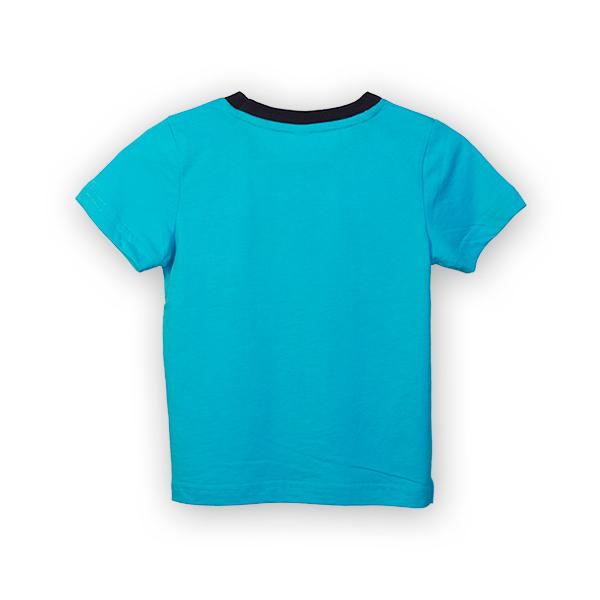 Tricou albastru cu text si guler contrastant 4