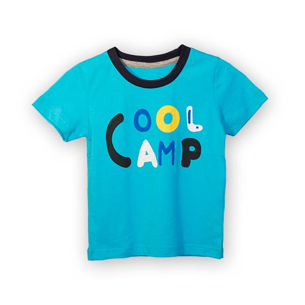 Tricou albastru cu text si guler contrastant 3