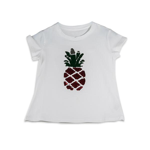 Tricou cu imprimeu ananas din paiete reversibile 0