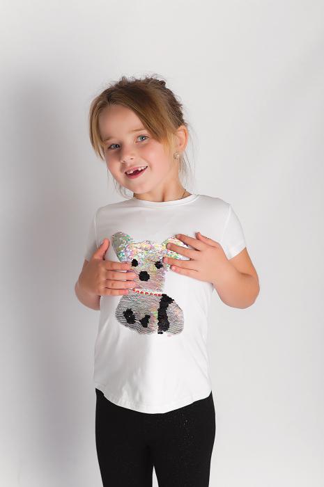 Tricou cu imprimeu catelus din paiete reversibile 0