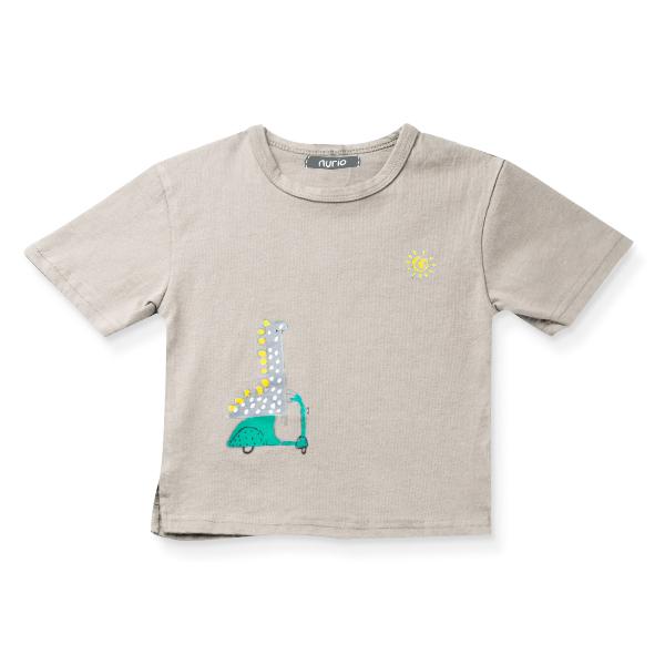 Tricou bej cu imprimeu dinozaur 5
