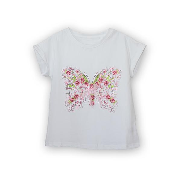 Tricou cu imprimeu fluturas si broderie 5