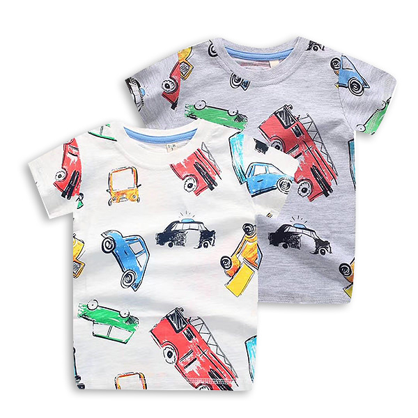 Tricou alb cu imprimeu masini 2
