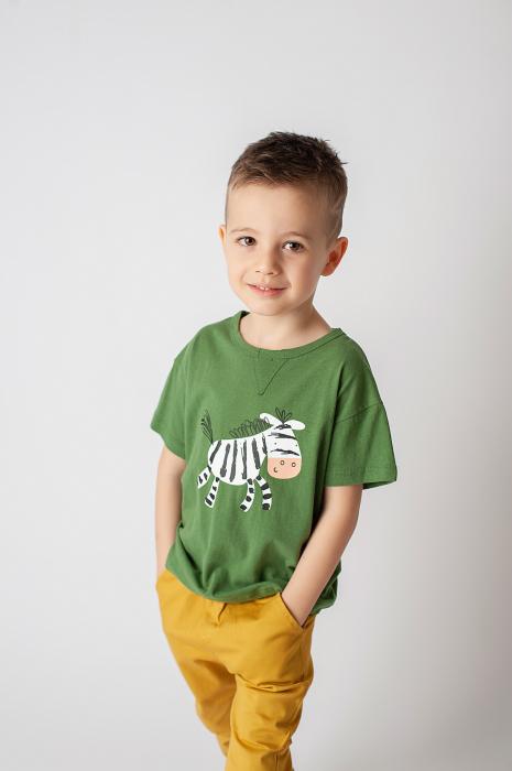Tricou verde cu imprimeu zebra 2