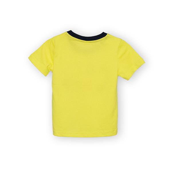 Tricou galben cu text si guler contrastant 4