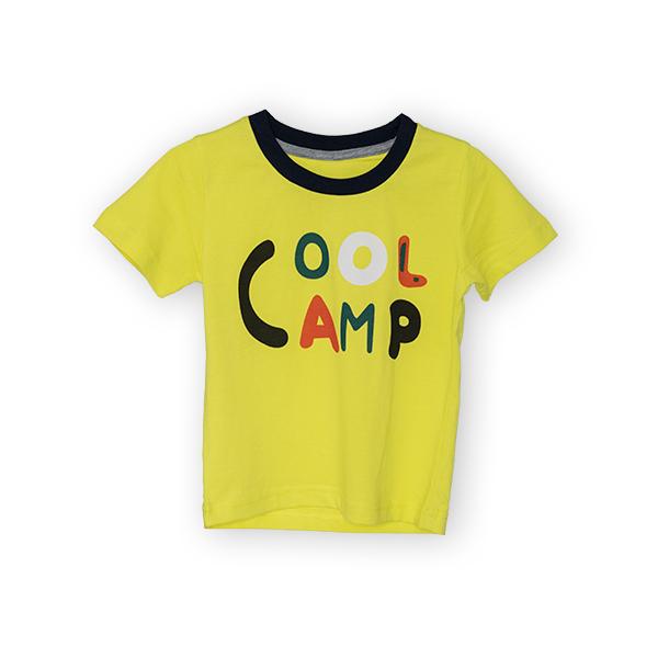 Tricou galben cu text si guler contrastant 3