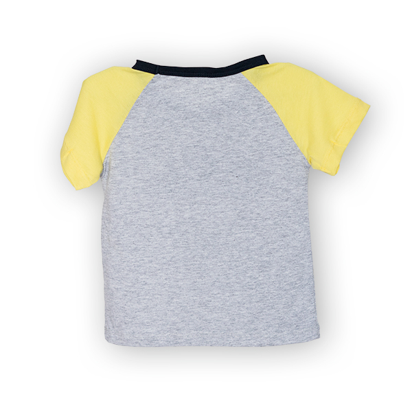 Tricou gri cu guler contrastant 1