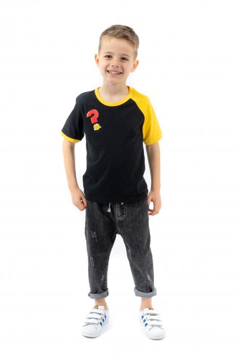 Tricou negru cu guler contrastant [0]