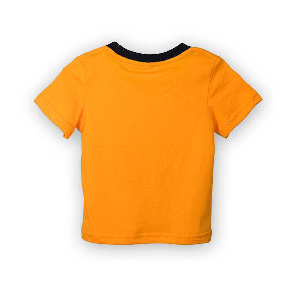 Tricou portocaliu cu imprimeu si guler contrastant 1