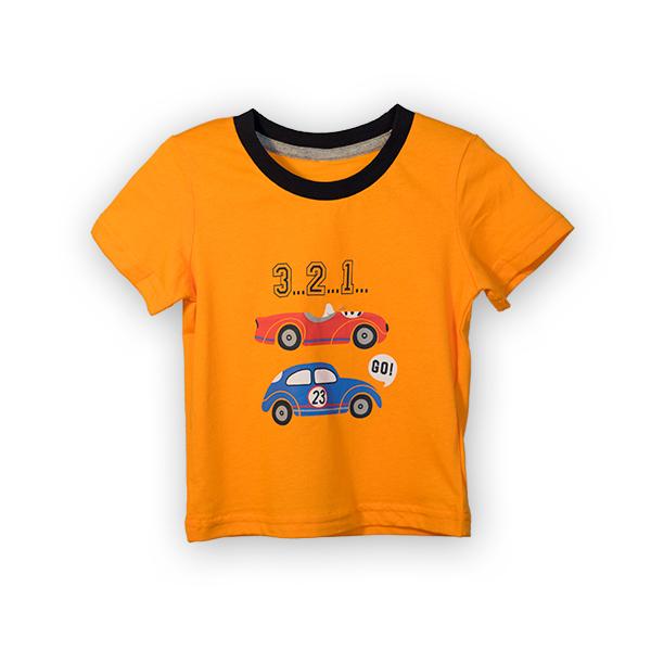 Tricou portocaliu cu imprimeu si guler contrastant 0