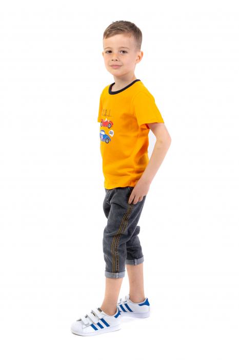 Tricou portocaliu cu imprimeu si guler contrastant [1]
