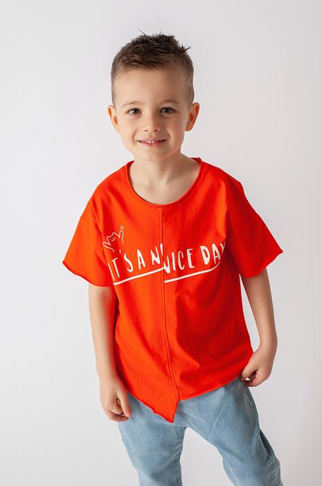 Tricou portocaliu cu text 0
