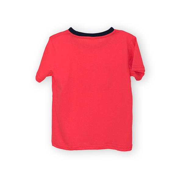 Tricou rosu cu text si guler contrastant 1
