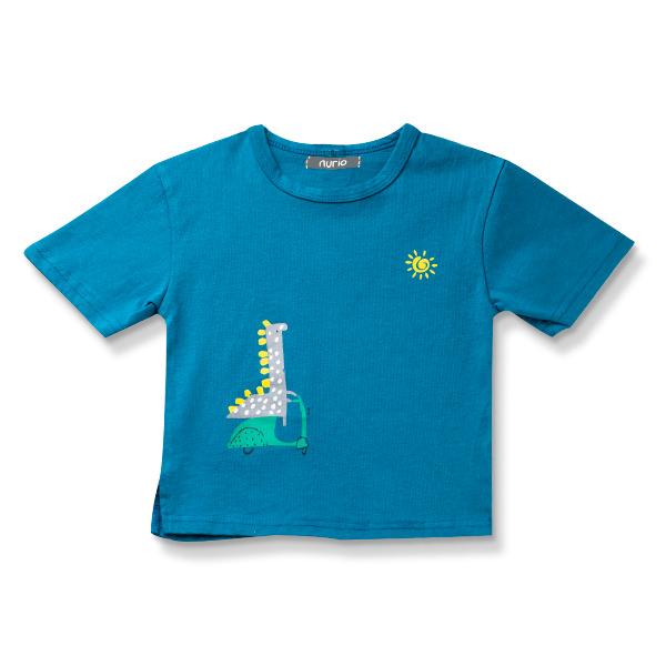 Tricou turcoaz cu imprimeu dinozaur 4