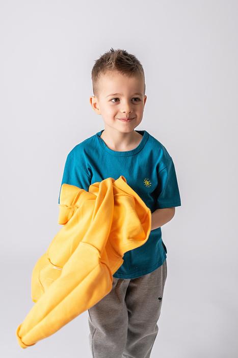 Tricou turcoaz cu imprimeu dinozaur 3