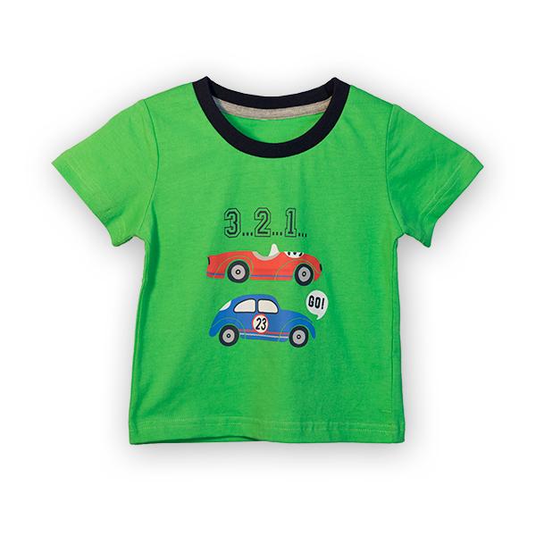 Tricou verde cu imprimeu si guler contrastant [3]
