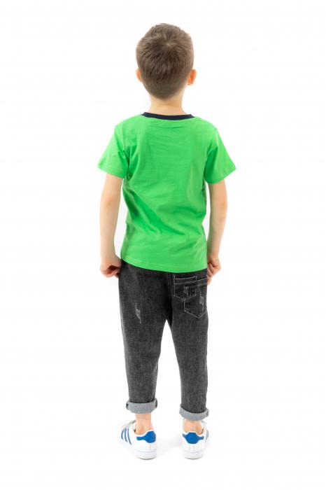 Tricou verde cu imprimeu si guler contrastant [2]
