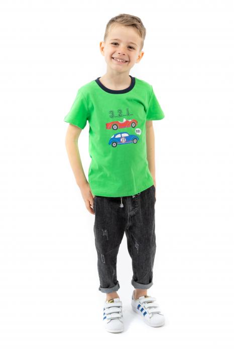 Tricou verde cu imprimeu si guler contrastant [0]