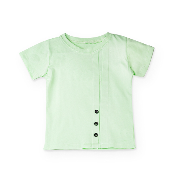 Tricou verde cu nasturi si cute 4