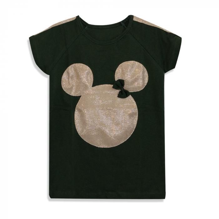 Tricou cu imprimeu si aplicatii culoare verde militar 0