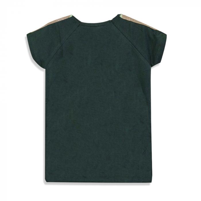 Tricou cu imprimeu si aplicatii culoare verde militar 1