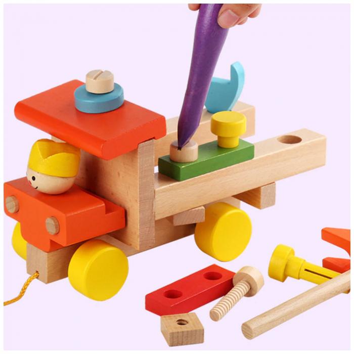 Masina colorata din lemn cu instrumente - jucarie de tras [1]