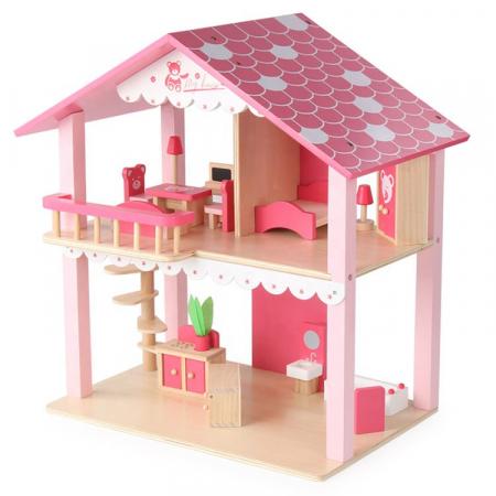 Căsuță de păpuși roz realizată manual cu mobilier și jucării educative din lemn pentru fete1