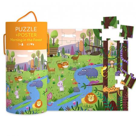 """Puzzle 63 piese """"Dimineață în pădure""""  în cutie cilindrică1"""