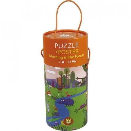 """Puzzle 63 piese """"Dimineață în pădure""""  în cutie cilindrică0"""